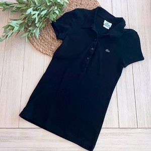 Like new Lacoste black ribbed polo size 38 small